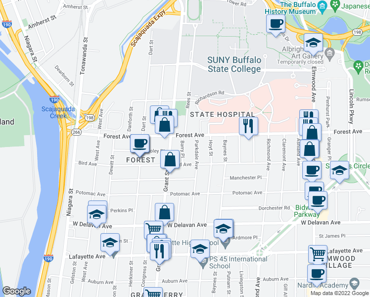map of restaurants, bars, coffee shops, grocery stores, and more near 35 Barry Place in Buffalo