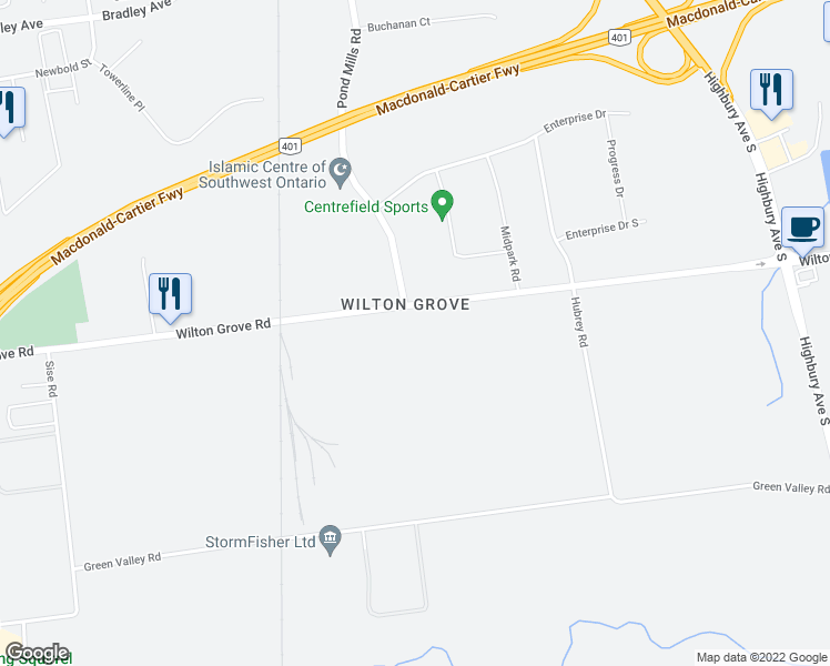 map of restaurants, bars, coffee shops, grocery stores, and more near 1095 Wilton Grove Road in London