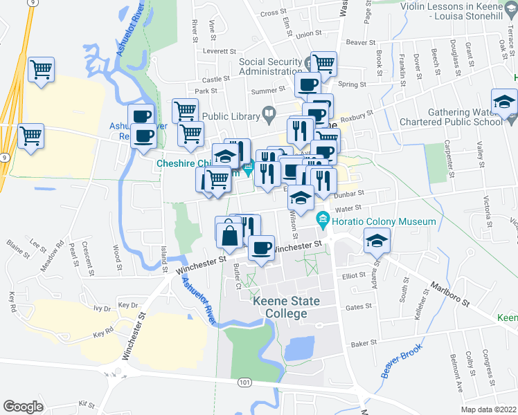 map of restaurants, bars, coffee shops, grocery stores, and more near 107 Davis Street in Keene
