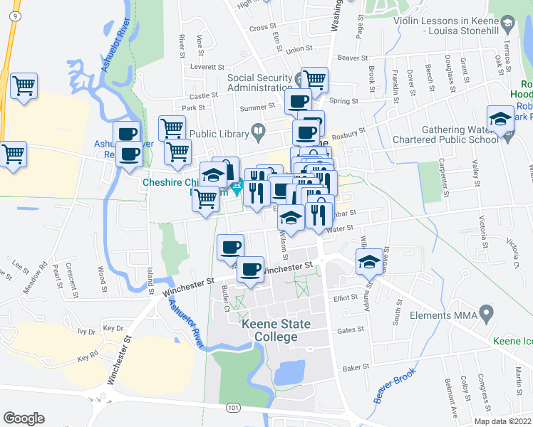 map of restaurants, bars, coffee shops, grocery stores, and more near 100 Emerald Street in Keene
