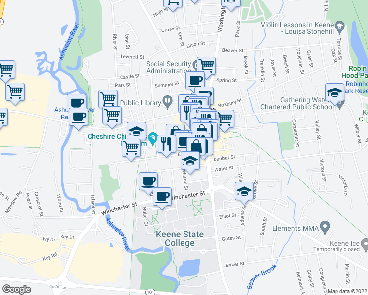 map of restaurants, bars, coffee shops, grocery stores, and more near 12 Wilson Street in Keene
