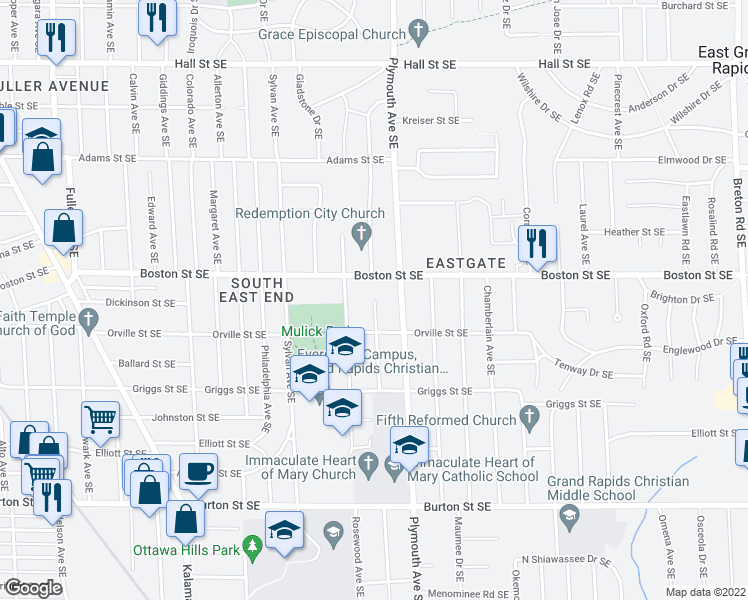 map of restaurants, bars, coffee shops, grocery stores, and more near Cambridge Drive