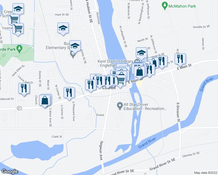 map of restaurants, bars, coffee shops, grocery stores, and more near in Lowell