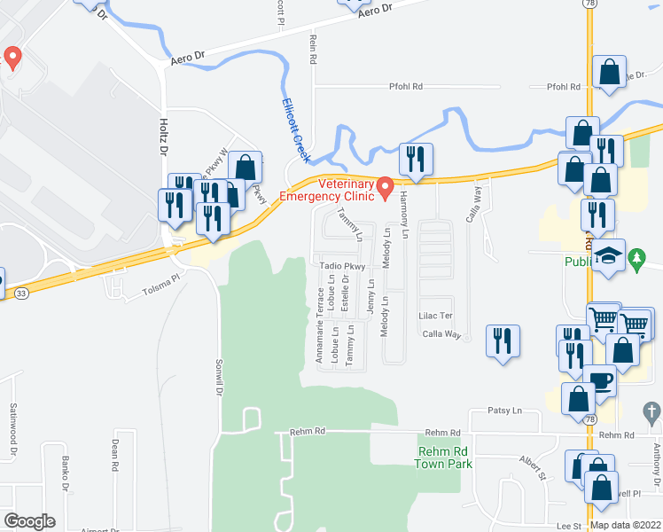 map of restaurants, bars, coffee shops, grocery stores, and more near 24 Lobue Lane in Cheektowaga