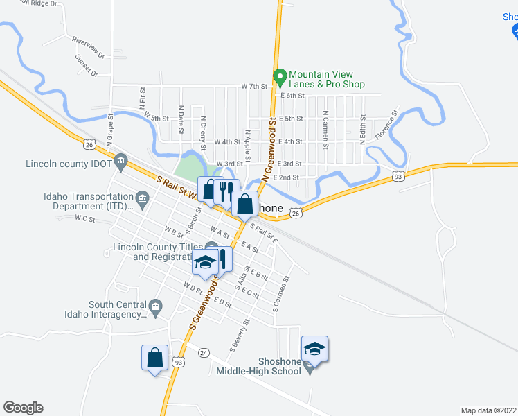 map of restaurants, bars, coffee shops, grocery stores, and more near in Shoshone