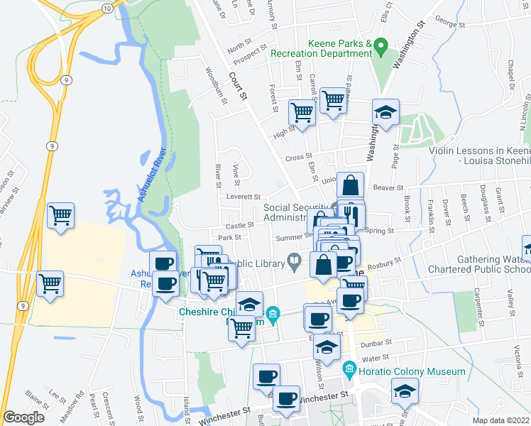 map of restaurants, bars, coffee shops, grocery stores, and more near 130 School Street in Keene