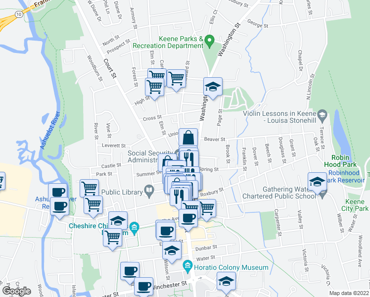 map of restaurants, bars, coffee shops, grocery stores, and more near 23 Mechanic Street in Keene