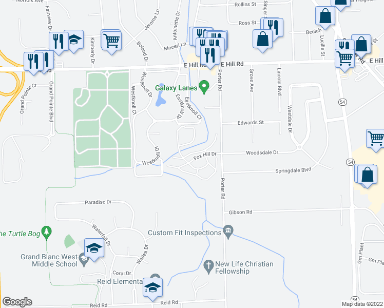map of restaurants, bars, coffee shops, grocery stores, and more near 2168 Fox Hill Drive in Grand Blanc