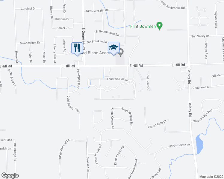 map of restaurants, bars, coffee shops, grocery stores, and more near 6033 Fountain Pointe in Grand Blanc