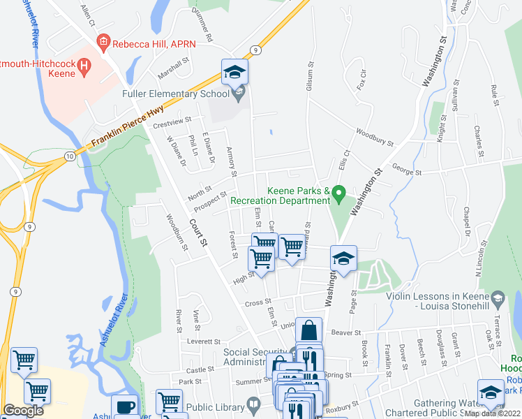 map of restaurants, bars, coffee shops, grocery stores, and more near 253 Elm Street in Keene