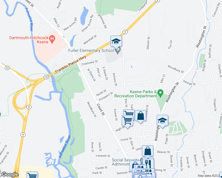 map of restaurants, bars, coffee shops, grocery stores, and more near 77 Old Keene Road in Keene