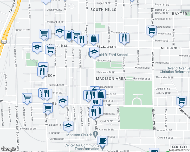 map of restaurants, bars, coffee shops, grocery stores, and more near 1014 Madison Avenue Southeast in Grand Rapids