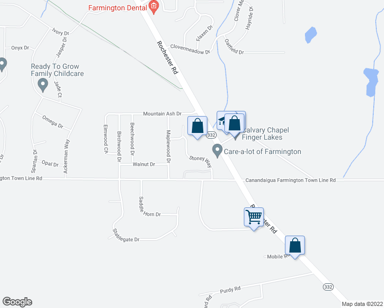 map of restaurants, bars, coffee shops, grocery stores, and more near 1773 Stoney Way in Farmington