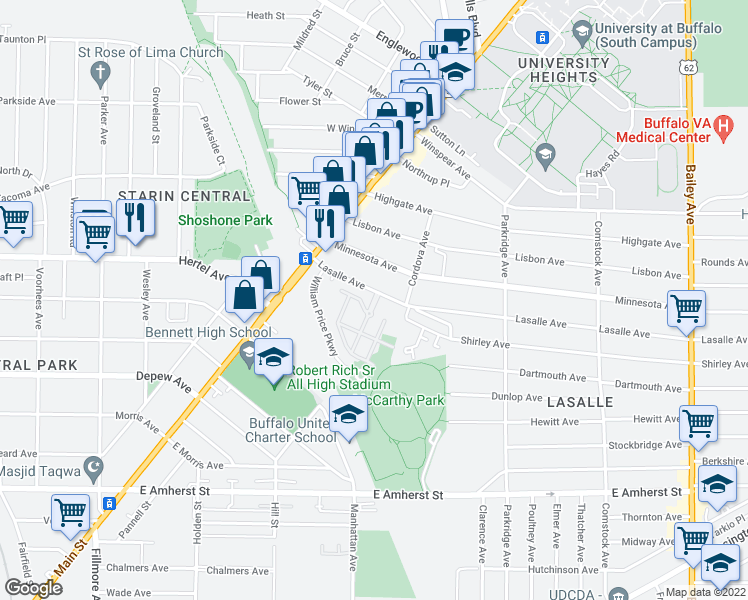 map of restaurants, bars, coffee shops, grocery stores, and more near 89 Lasalle Avenue in Buffalo