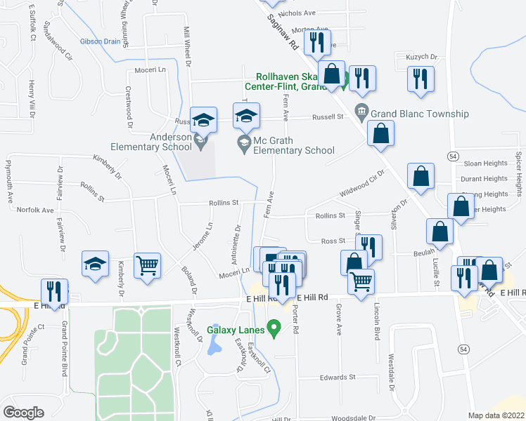 map of restaurants, bars, coffee shops, grocery stores, and more near 5388 Fern Avenue in Grand Blanc