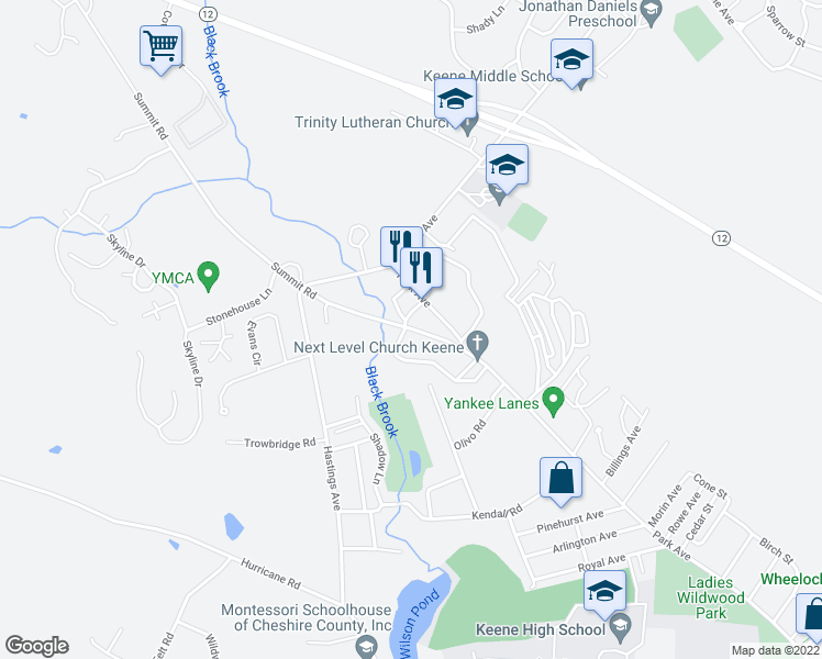 map of restaurants, bars, coffee shops, grocery stores, and more near 48 Summit Road in Keene
