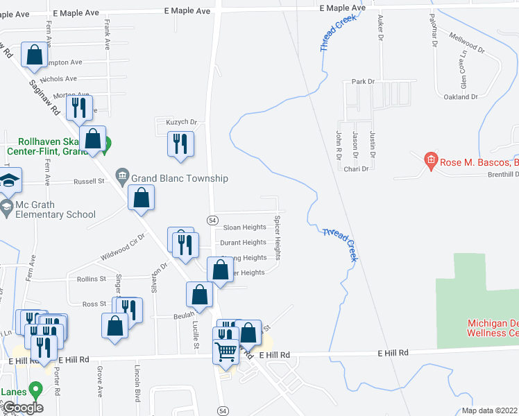 map of restaurants, bars, coffee shops, grocery stores, and more near 3077 Kettering Heights in Flint