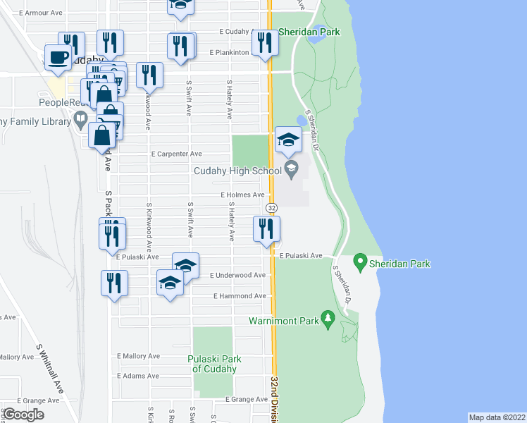 map of restaurants, bars, coffee shops, grocery stores, and more near 3918 East Martin Avenue in Cudahy