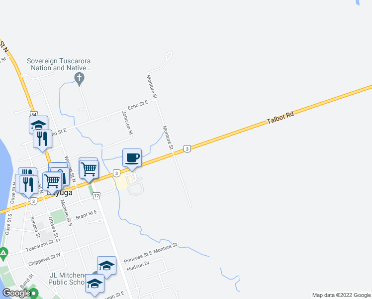 map of restaurants, bars, coffee shops, grocery stores, and more near 4963 Highway 3 in Cayuga
