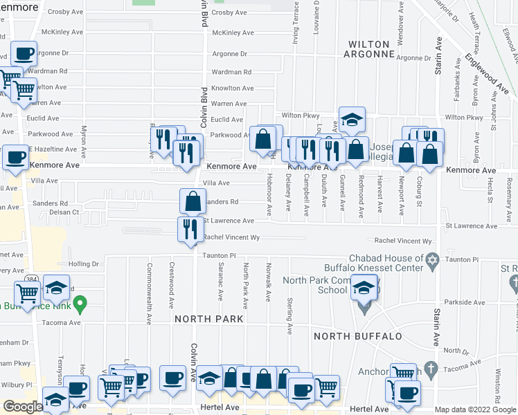map of restaurants, bars, coffee shops, grocery stores, and more near 383 Sanders Road in Buffalo