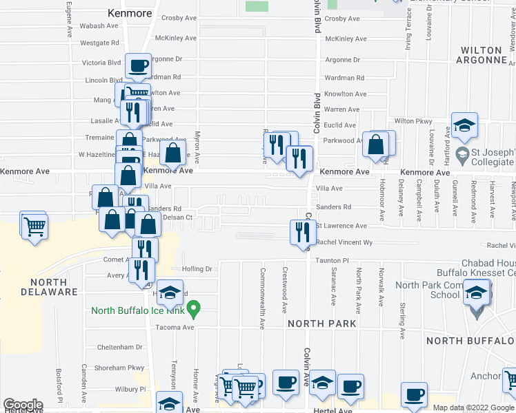 map of restaurants, bars, coffee shops, grocery stores, and more near Sanders Road in Buffalo
