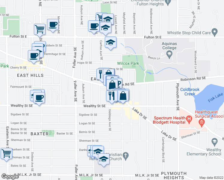 map of restaurants, bars, coffee shops, grocery stores, and more near 1415 Lake Drive Southeast in Grand Rapids