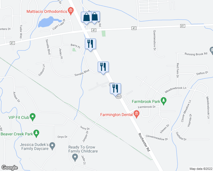 map of restaurants, bars, coffee shops, grocery stores, and more near 5936 Terrace Lane in Farmington