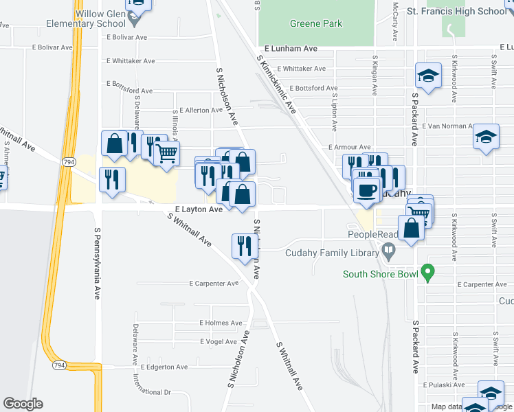 Cudahy Wisconsin Map.S Nicholson Ave E Layton Ave Cudahy Wi Walk Score