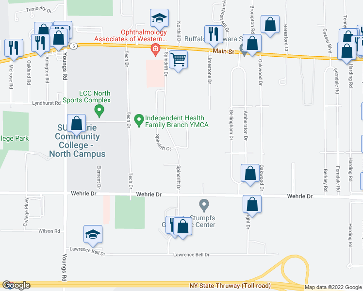 map of restaurants, bars, coffee shops, grocery stores, and more near 25 Spring Meadow Drive in Buffalo