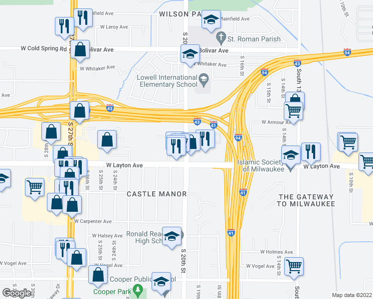 map of restaurants, bars, coffee shops, grocery stores, and more near 4661 South 20th Street in Milwaukee