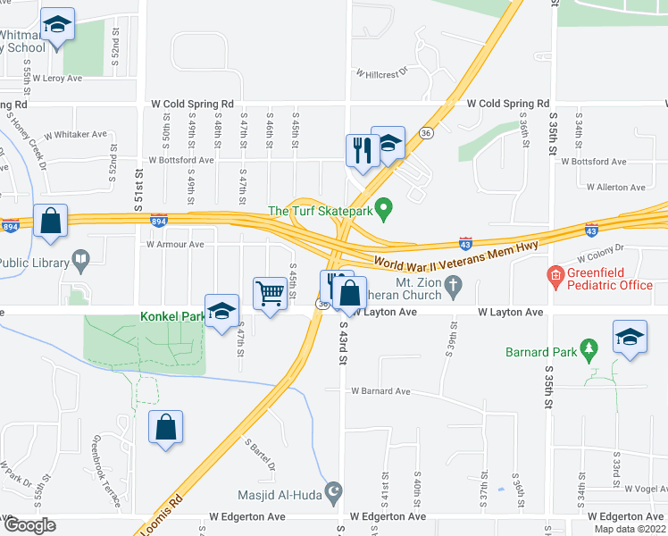 map of restaurants, bars, coffee shops, grocery stores, and more near 4352 West Loomis Road in Greenfield