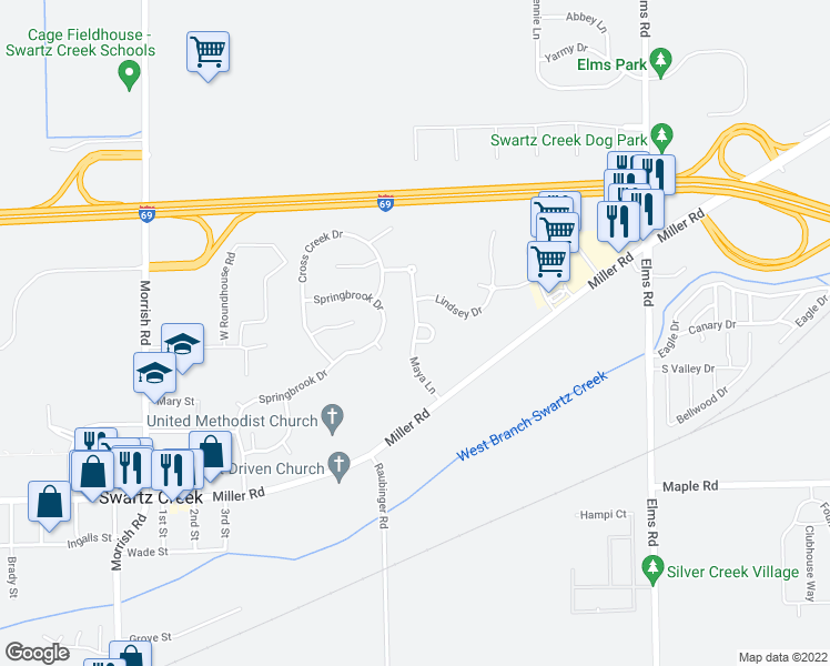 map of restaurants, bars, coffee shops, grocery stores, and more near Maya Lane in Swartz Creek