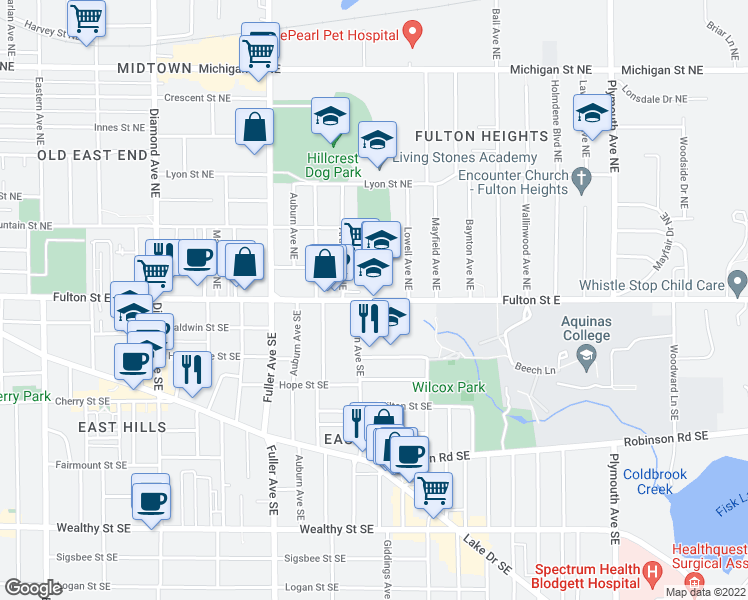 map of restaurants, bars, coffee shops, grocery stores, and more near 1443 Fulton Street East in Grand Rapids