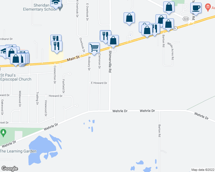 map of restaurants, bars, coffee shops, grocery stores, and more near 4264 Shimerville Road in Clarence