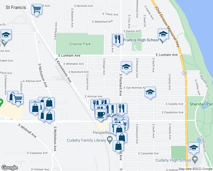 map of restaurants, bars, coffee shops, grocery stores, and more near 3508 East Van Norman Avenue in Cudahy