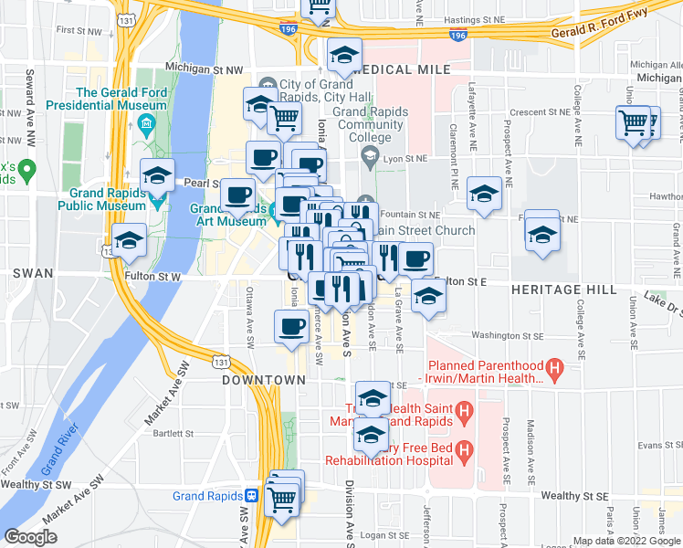 map of restaurants, bars, coffee shops, grocery stores, and more near in Grand Rapids