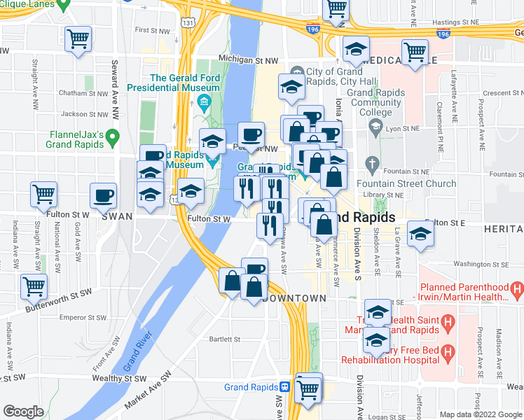 map of restaurants, bars, coffee shops, grocery stores, and more near 201 Fulton Street West in Grand Rapids