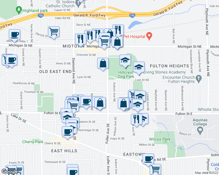 map of restaurants, bars, coffee shops, grocery stores, and more near 114 Fuller Ave NE in Grand Rapids