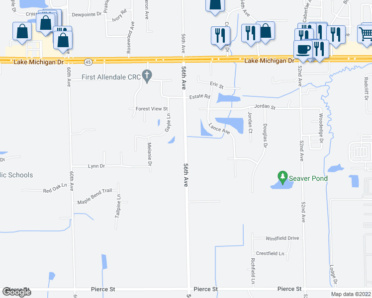 map of restaurants, bars, coffee shops, grocery stores, and more near 10839 56th Avenue in Allendale Charter Township