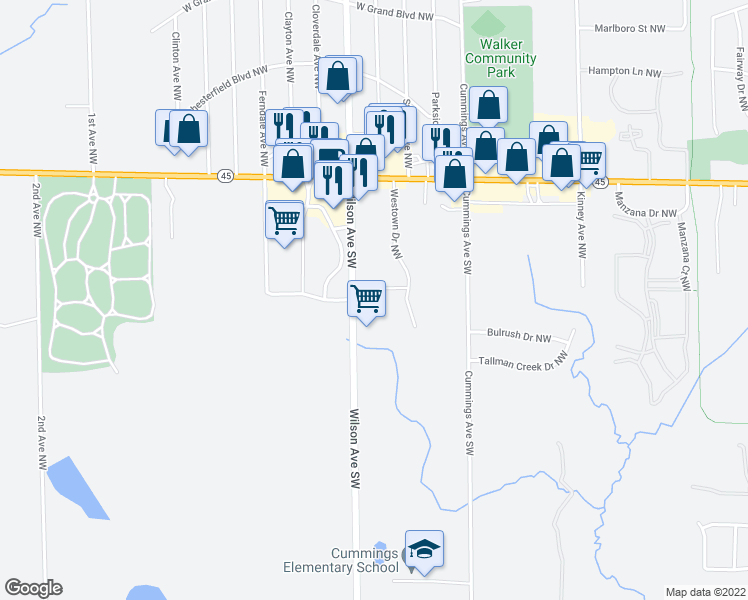 map of restaurants, bars, coffee shops, grocery stores, and more near 217 Westown Drive NorthWest in Grand Rapids