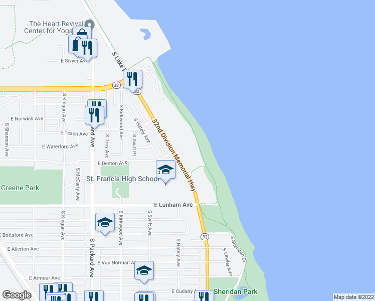 map of restaurants, bars, coffee shops, grocery stores, and more near 4100 South Lake Drive in Milwaukee