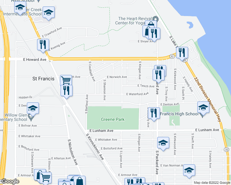 map of restaurants, bars, coffee shops, grocery stores, and more near 4072 South Alexander Avenue in St. Francis