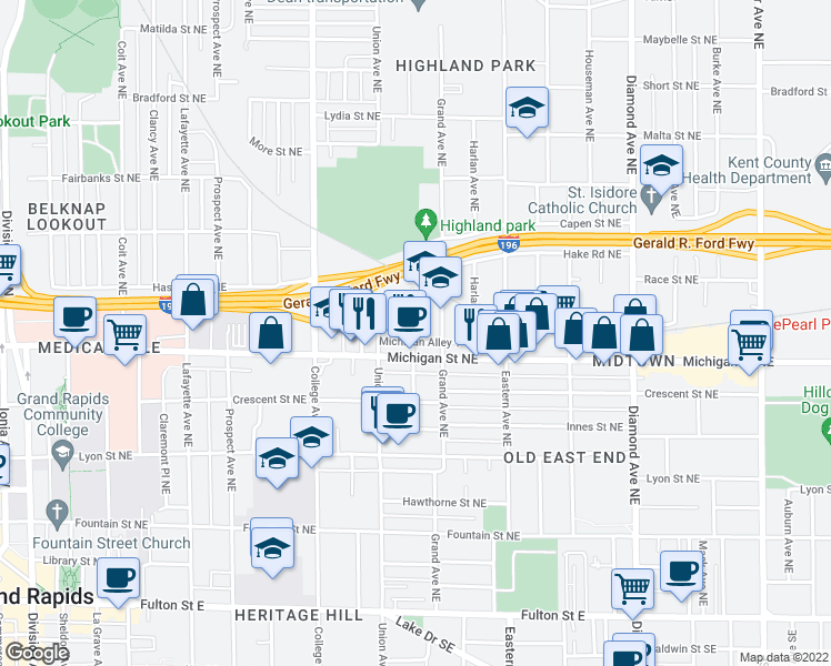 map of restaurants, bars, coffee shops, grocery stores, and more near 414 Benson Avenue Northeast in Grand Rapids