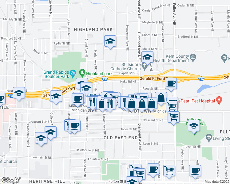 map of restaurants, bars, coffee shops, grocery stores, and more near 466 Emerald Avenue Northeast in Grand Rapids
