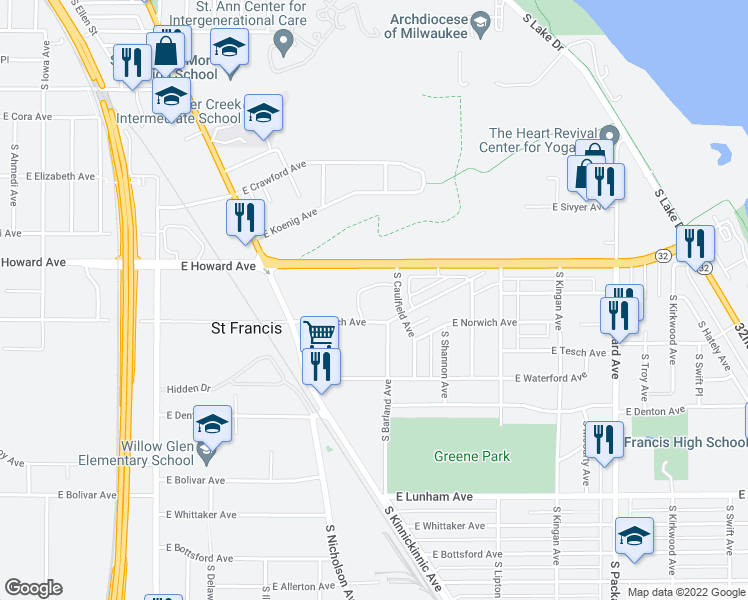 map of restaurants, bars, coffee shops, grocery stores, and more near 3120 East Norwich Avenue in St. Francis