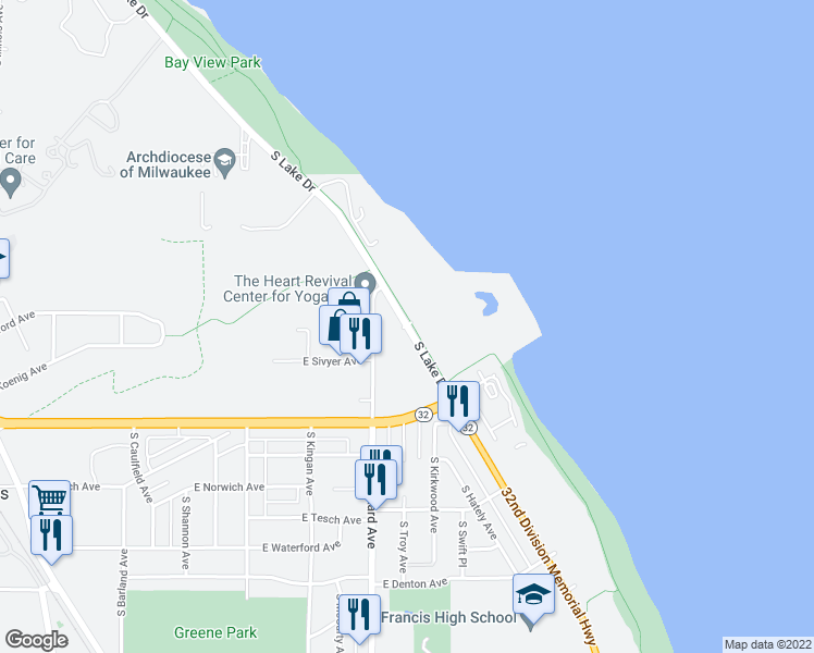 map of restaurants, bars, coffee shops, grocery stores, and more near S Lake Dr in St Francis