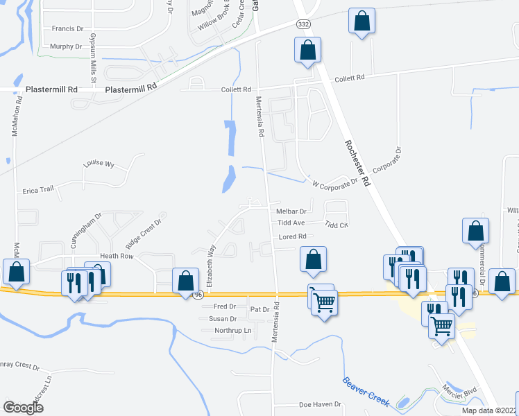 map of restaurants, bars, coffee shops, grocery stores, and more near 1198 Mertensia Road in Farmington