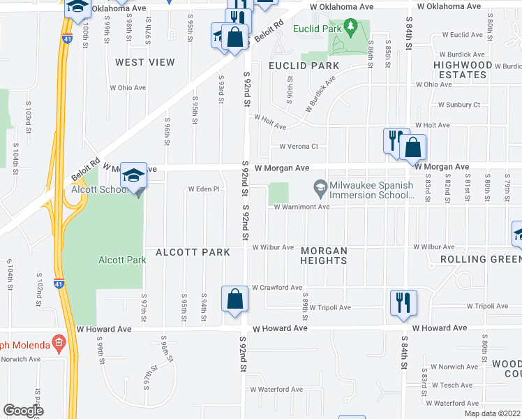 map of restaurants, bars, coffee shops, grocery stores, and more near 3601 S 91st St in Milwaukee