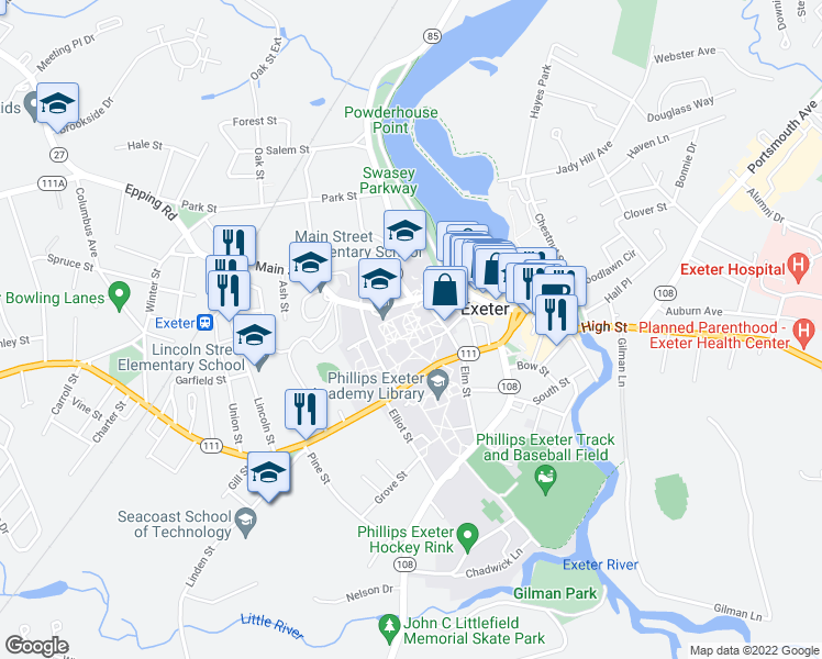 map of restaurants, bars, coffee shops, grocery stores, and more near 42-98 Spring Street in Exeter
