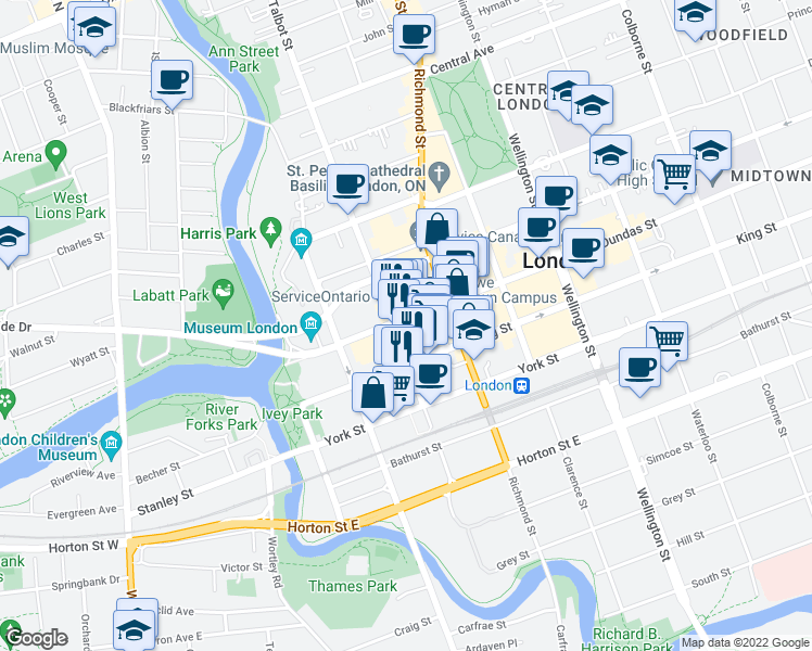 map of restaurants, bars, coffee shops, grocery stores, and more near 117 Dundas Street in London